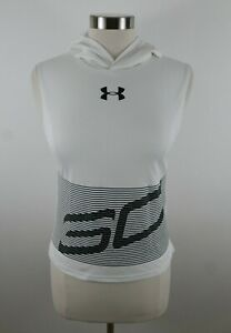 Under Armour Boys Polyester Loose Fit Heat Gear White Hooded Tank Top Youth M