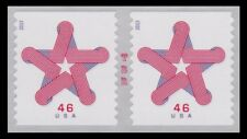 4749 Patriotic Star 46c Attached Coil Pair Red White Blue From 2013 MNH -Buy Now