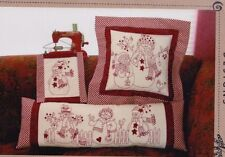 PATTERN - Redwork Snow People - fun stitchery & pieced PATTERN - Bird Brain