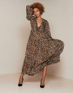 NWT Agent Provocateur Novak Long Dress Silk Leopard Maxi Gift Box Animal Print