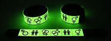 Pride  Glow in the Dark Rubber Bracelet Wristband Rainbow Gay Lesbian Lgbt GG306