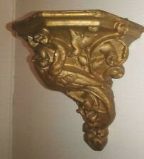 Vintage Decorative Corbel Shelf Swan/Bird Motif Antique Gold
