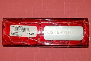 Foster Grant Red Gator Croc Faux Leather Eyeglass Case Magnetic Closure #003