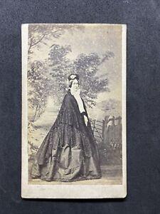 Victorian Carte De Visite CDV: Elegant Lady Grand Backdrop: Angel Exeter