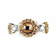 Metal Hair Claw Clip Hairpin Rhinestone Crystal Vintage Elegant Small Brown 001