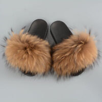 Fluffy Real Raccoon Fur Slippers Women Fashion Slider Spring Summer Indoor Flat