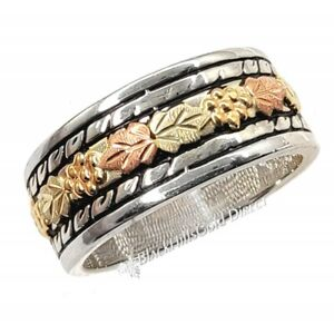 Black Hills Gold on Sterling Silver Ladies Band Ring Size 7