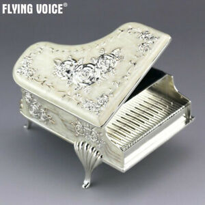 Quality White Tin Alloy Rose Pattern Piano Music Box Wind Up ♫Castle in the Sky♫