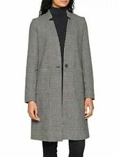 """* ONLY Checkered Black White Coat Trench Parka Jacket Size Small Women  5"""" 26"""