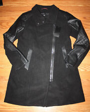 NWT Womens MARC NEW YORK Black Full Zip Wool Faux Leather Accent Pea coat 8