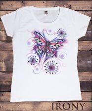 Women's Top Beautiful Butterflies fancy paint Floral Print TS1142