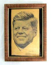 """John F Kennedy Old News Paper Clipping Framed 1963 by Robert Riger 8""""tall 6""""wide"""