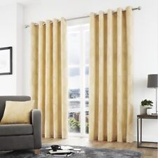Curtina Helsinki Ready Made Fully Lined Eyelet Top Yellow Curtains 66 X 90 In.