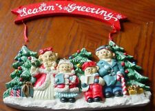 Seasons Greetings Caroling Bear Wall Plaque, New Other