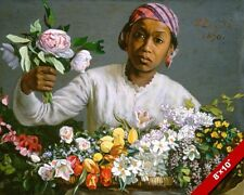 BLACK WOMAN SELLING PEONY FLOWERS FLORIST PAINTING ART REAL CANVAS PRINT
