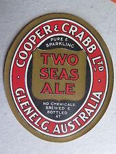 COOPER & CRABB TWO SEAS ALE HOTEL BEER LABEL 1940s GLENELG SOUTH AUSTRALIA