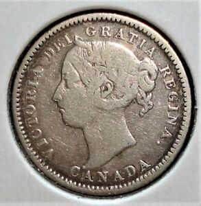 """1886 Silver Canadian Dime, Large """"6"""" Variety"""