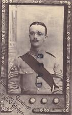 WW1soldier Colour Sergeant PTI Instructor India wears KD Tunic waxed moustache