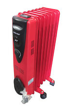 1500W 7 FIN OIL FILLED RADIATOR ELECTRICAL CARAVAN HOME OFFICE HEATER - RED