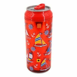 Coolgearcan -16oz/Red Sailboat/Plastic/BPA Free/DoubleWall/Twist lid/Spill Proof