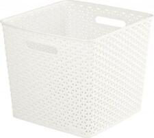 Curver Small Faux Rattan Cream Storage Organiser Wicker Style Box Basket 25L
