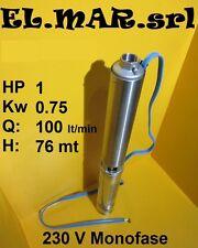 Elettropompa sommersa 10 Stadi HP 1 Kw 0,75 Pompa Pozzo Monofase