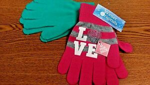 WINTER APPAREL 2 PACK OF KIDS GLOVES GIRLS PINK LOVE NEW WITH TAGS ONE SIZE