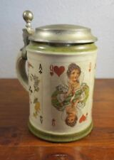 Vintage Stoneware & Pewter German Germany Stein with Face Playing Cards