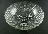Vintage Clear Glass Footed Bowl Anchor Hocking Oyster Pearl Bubble 8.5""