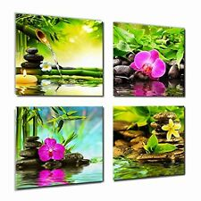 Canvas Art Zen Prints Spa Wall Decor 4 Panel Artwork Modern Pictures Framed To -