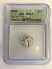 2002 $10 1/10 oz Platinum American Eagle ICG MS70