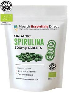 Organic Spirulina 500mg Tablets (Detox, Immune System, Weight Loss, B Vitamins)