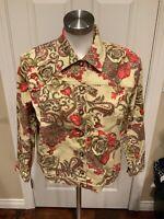 St. John Sport Tan Denim Jacket w/ Floral Print, Size Medium