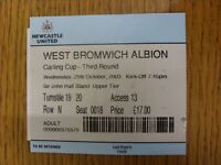 29/10/2003 Ticket: Newcastle United v West Bromwich Albion [Football League Cup]