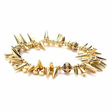 New Fashion Renegade Cluster Gold Spike Ball Heart Charm Stretch Bracelet Dot