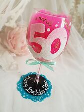 Personalised hand painted wine glass wedding 18th 25th 40th 50th dad party