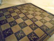 Chess board made of Lacquer in China 19th century with backgammon on the reverse