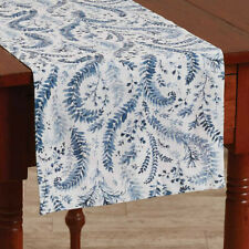 Ashley China Blue White Floral Woven Cotton Country Cottage Table Runner