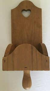 "Vintage Wood SCONCE CANDLE HOLDER 14"" Box Heart Handle Candlestick Wall Mount"