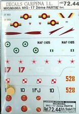 """Carpena 1/72 Decals: 2 Mig-17 """"Migmania"""" Decal Sets, MPN#s 72.43 & 72.44"""