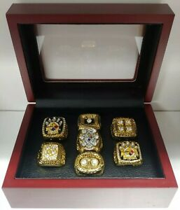 Pittsburgh Steelers - Super Bowl Gold Color 7 Ring Set w Box. Roethlisburger