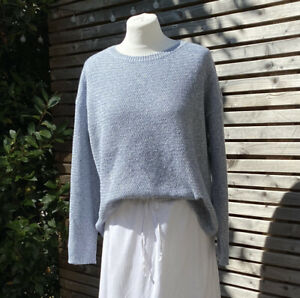 Fat Face Size 14 Surf Blue Harpenden Cotton Blend Knitted Jumper VGC