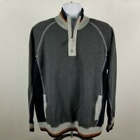 Carbon2Cobalt Mens Gray Blue 1/4 Zip Pull Over Sweater Size XL