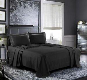 🙂1800 Count 4 Piece Deep Pocket Bed Sheet Set Egyptian Comfort,Queen Size-Black