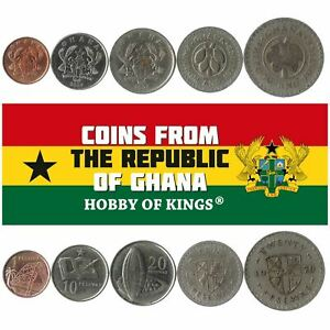5 DIFFERENT COINS FROM GHANA. OLD AFRICAN CURRENCY