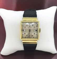 Watch with Leather Band 14K yellow gold Longines