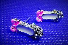 Süße Ohrstecker Ballettschuhe Paar Schläppchen Pink silberfarben Strass