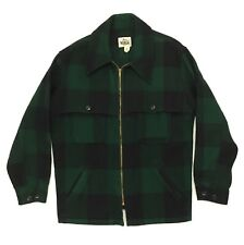 Vintage Woolrich Wool Jacket Coat Size Large Men's Green Plaid Full Zip Collared