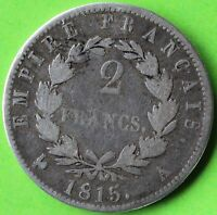 FRANCE 2 FRANCS CENT JOURS 1815 A