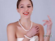 9-10mm AA White Flat Freshwater Real  Genuine Pearl Necklace Wedding Bridal